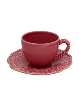 Picture of Artichoke and Bird - Tea Cup and Saucer Dark Pink