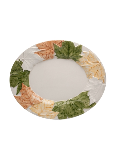 Picture of Plane Tree leaves  - Oval Platter 35 Natural