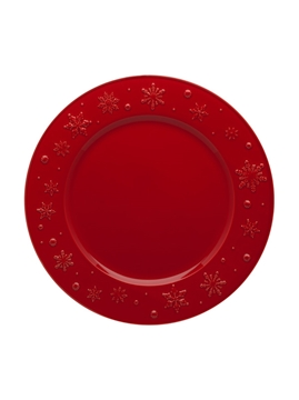Picture of Snowflakes - Charger Plate 34 Red