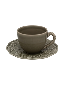 Picture of Artichoke and Bird - Tea Cup and Saucer Dark Grey