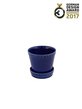 Picture of Rua Nova - Vase 12 with plate Indigo Blue