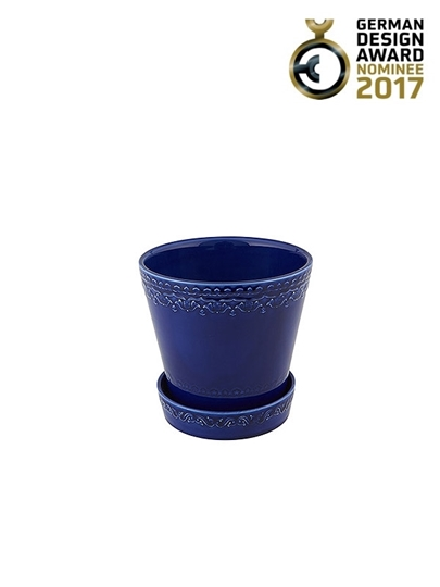 Picture of Rua Nova - Vase 16 with plate Indigo Blue